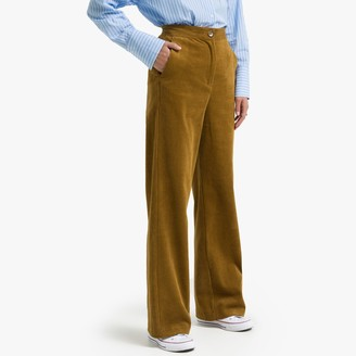 """La Redoute Collections Straight Cotton Corduroy Trousers with Wide Leg, Length 29.5"""""""