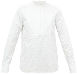 Chloé Bobble-embroidered Cotton-poplin Blouse - Womens - White