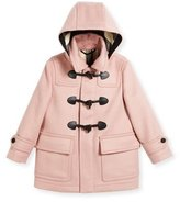 Burberry Burwood Hooded Wool Toggle Coat, Rose, Size 4-14