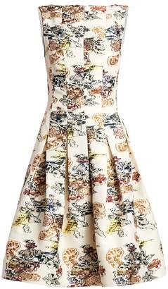 Oscar de la Renta Floral-Print Seam Box Pleat A-Line Dress
