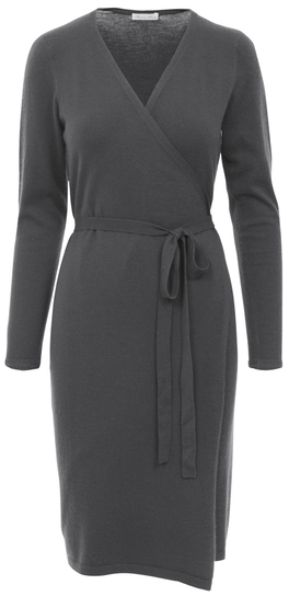 Minnie Rose F41255C16 Super Luxe Iconic Wrap Dress In Charcoal Heather Grey