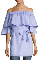 Lucca Couture Poplin Ruffle Off Shoulder Shift Dress