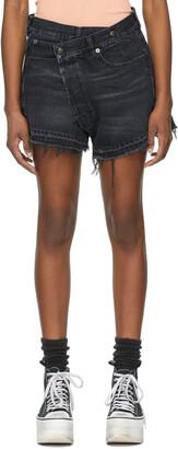 R13 Black Crossover Denim Shorts