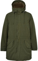 Aspesi Faux Shearling-lined Brushed-shell Hooded Parka