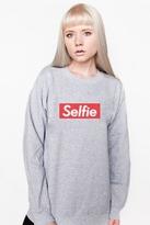 Petals and Peacocks Selfie Sweatshirt in Grey