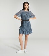 Thumbnail for your product : Reiss Dani - Floral Printed Mini Dress in Blue