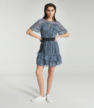 Reiss Dani - Floral Printed Mini Dress in Blue
