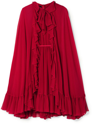 Giambattista Valli Cape-effect Ruffled Silk-georgette Dress