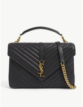 Saint Laurent Ladies Black and Gold Modern Monogram Quilted Pebbled Leather Satchel, Size: Large