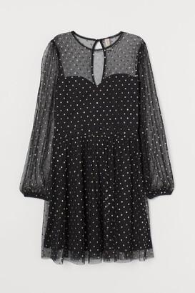 H&M Glittery-dot Mesh Dress - Black