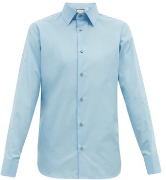 Gucci French-cuff Cotton-poplin Shirt - Mens - Light Blue