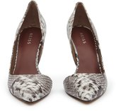 Reiss Bardot - Snake-print Curve Detail Shoes in Brown, Womens