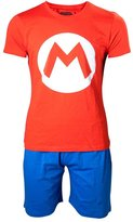 Nintendo Official Mens Super Mario Character Logo Shortama Pyjama Set Ladies