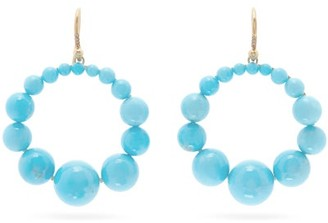 Irene Neuwirth Diamond, Kingman Turquoise & Gold Hoop Earrings - Yellow Gold