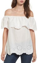 BP Women's Eyelet Ruffle Off The Shoulder Top