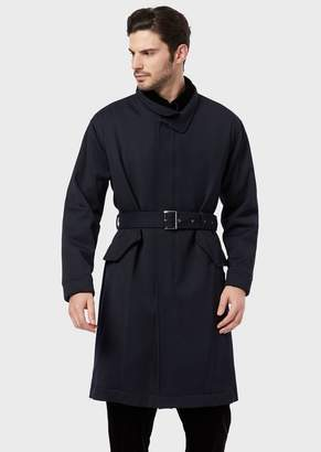 Giorgio Armani A Trench In Stretch Wool Cavalry With A Belt