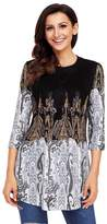 YINJIONG Women's Printed Round Collar Pleated 3/4 Sleeves Long T Shirt Dresses