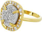 Melinda Maria 18K Plated Grey Druzy Ring