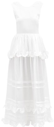 Cecilie Bahnsen Echo Tiered Silk-charmeuse Gown - White