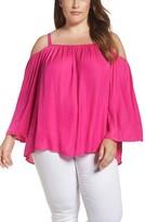 Vince Camuto Plus Size Women's Rumple Cold Shoulder Blouse