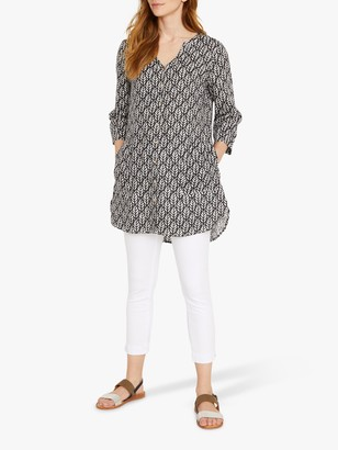 White Stuff Mika Linen Tunic Top, Grey/Multi