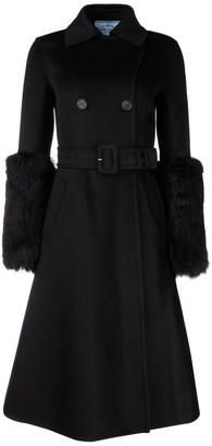 Prada Belted Furry Cuffed A-Line Coat