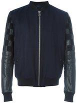 Lanvin varsity style bomber jacket - men - Leather/Viscose/Wool - 48
