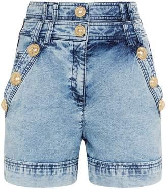 Balmain Acid Wash Denim Shorts