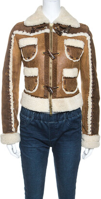 DSQUARED2 Brown Suede Shearling Jacket M