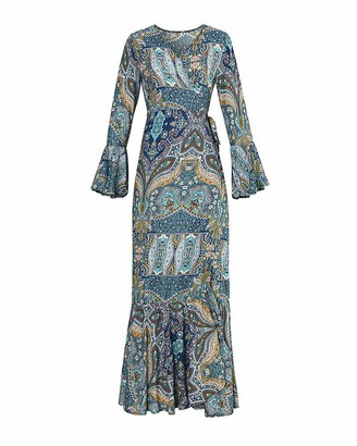 DaiHan Women Long Sleeve Deep V-Neck Summer Sundress Bohemian Floral Print Side Lace-Up Dress Beach Front Wrap Cover-Up Long Maxi Holiday Wrap Dress with Belt Blue M