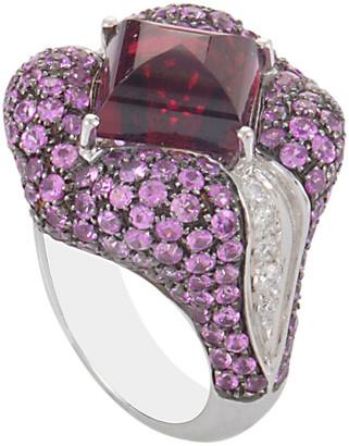 Oro Trend 18K 8.20 Ct. Tw. Diamond & Gemstone Ring
