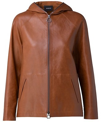 Akris Hooded Leather Zip-Front Jacket
