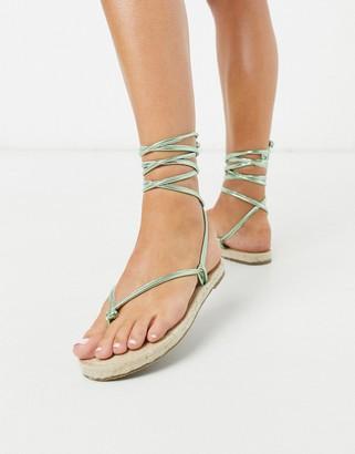 ASOS DESIGN Joe minimal tie leg espadrille flat sandals in green metallic
