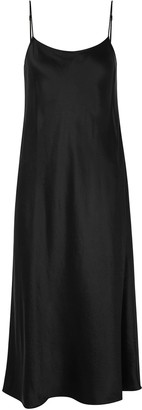 Vince Black Hammered Satin Slip Dress