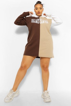boohoo Plus Colour Block Slogan Hooded Sweat Dress