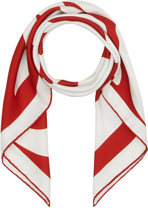 Burberry Logo Text Double Print Square Silk Scarf