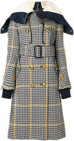 Sacai checked double layer coat