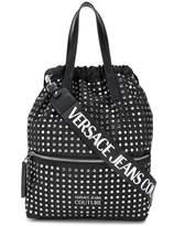 Versace logo strap studded backpack