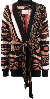 Laneus Belted Animal Pattern Cardigan