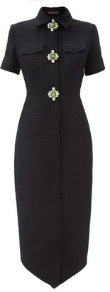 David Koma Crystal-embellished Wool-blend Dress - Black Silver