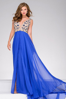 Jovani Sleeveless Beaded Lace Nude Top A Line Chiffon Dress 40979