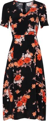 Wallis PETITE Black Floral Split Front Midi Dress