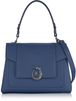 Trussardi Lovy Blue Jeans Crepe Leather Satchel Bag