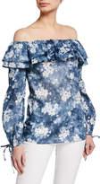MICHAEL Michael Kors Bleached Off-The-Shoulder Floral-Print Top