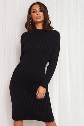The Fashion Bible Black Cut Out Twist Jumper Midi Dress