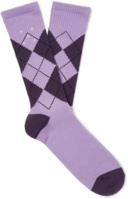 Pop Trading Company Logo-Embroidered Cotton-Blend Jacquard Socks - Men - Pink