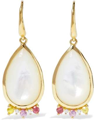 Ippolita 18-karat Gold Mother-of-pearl, Diamond, And Sapphire Earrings