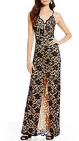 B. Darlin Spaghetti-Strap Scalloped Neckline Long Lace Dress