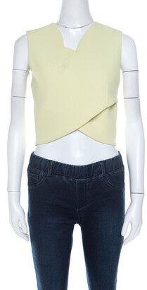 Carven Lime Green Crepe Scalloped Cross Over Crop Top M