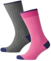 Charles Tyrwhitt Pink and Grey Ribbed 2 Pack Socks Size Large